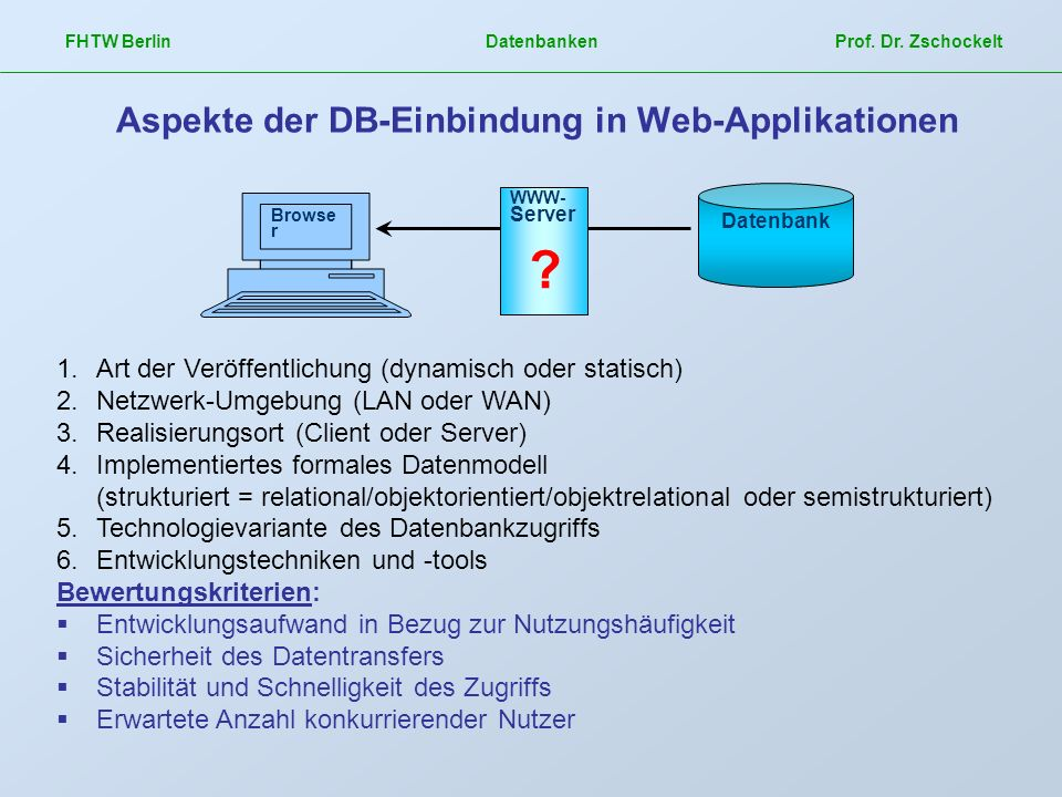 Aspekte der DB-Einbindung in Web-Applikationen