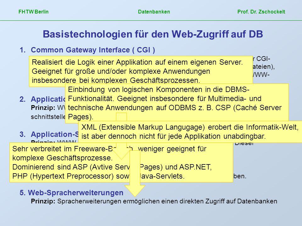 Basistechnologien für den Web-Zugriff auf DB