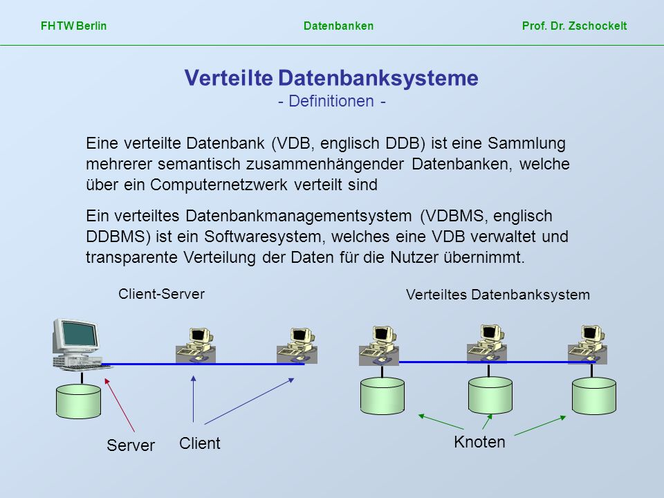Verteilte Datenbanksysteme - Definitionen -