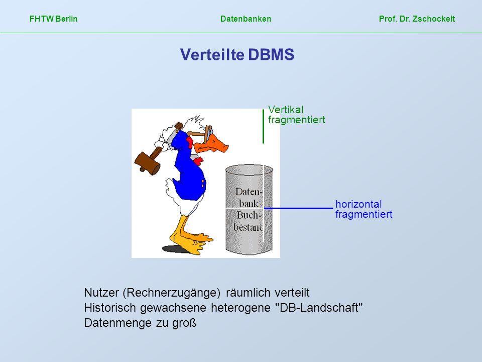 Verteilte DBMS Nutzer (Rechnerzugänge) räumlich verteilt
