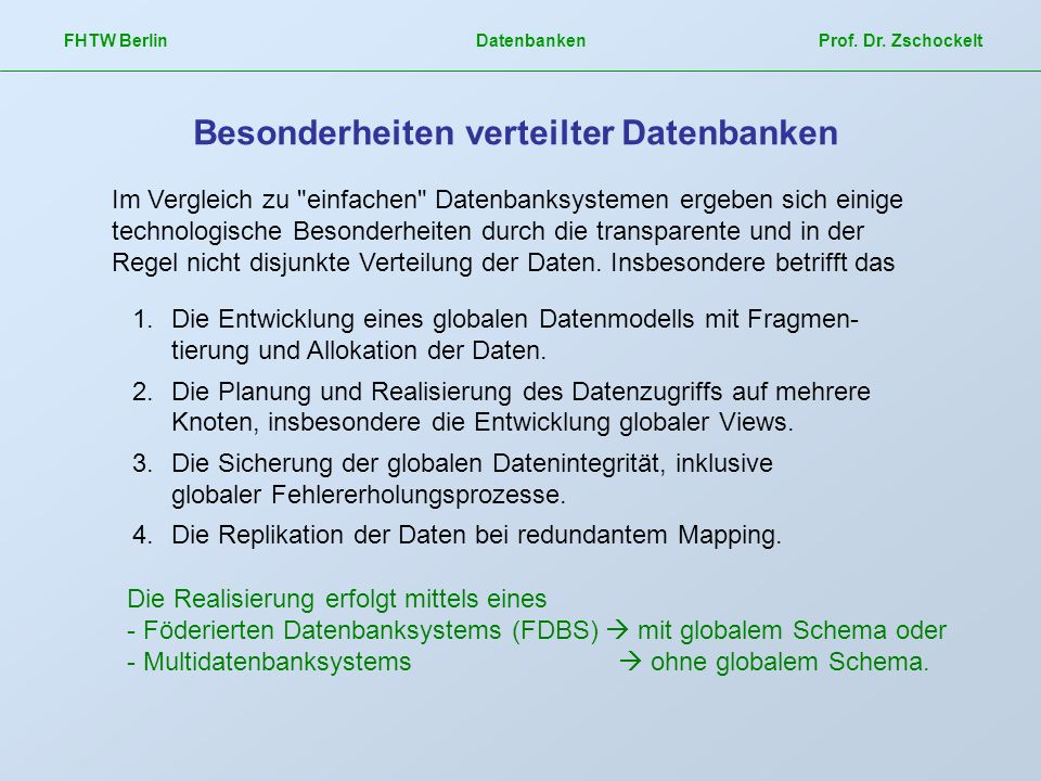 Besonderheiten verteilter Datenbanken