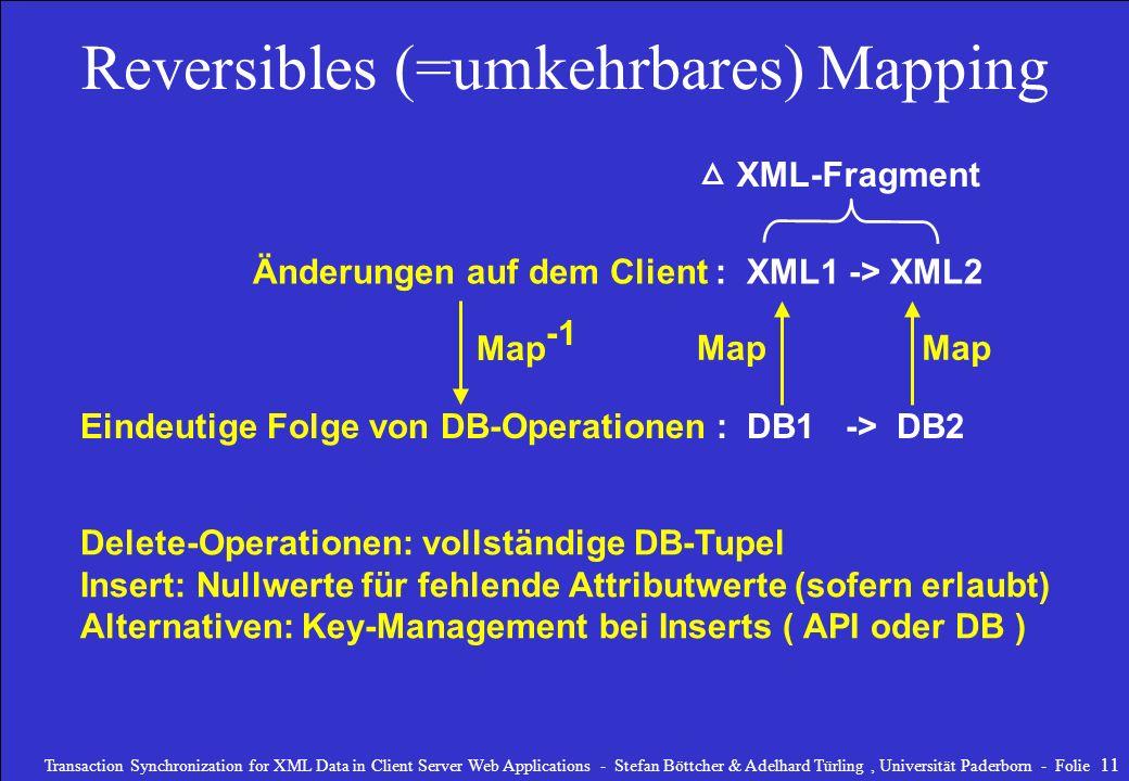 Reversibles (=umkehrbares) Mapping