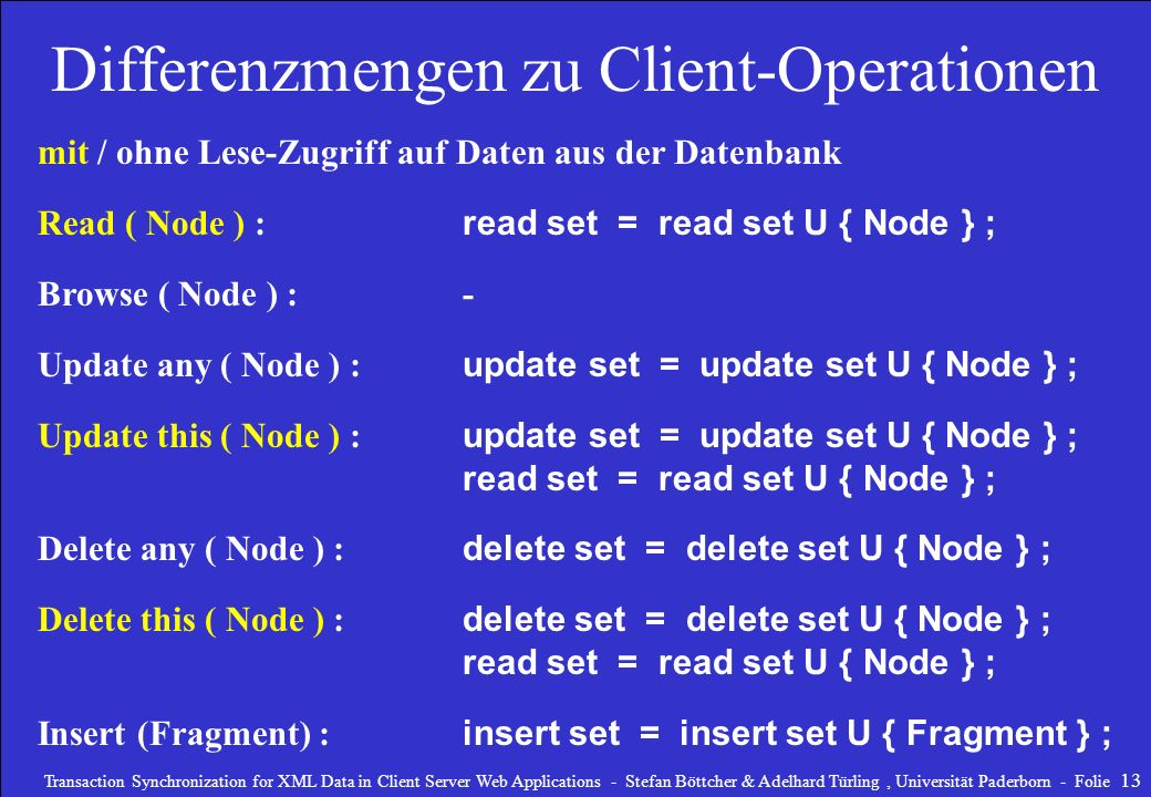 Differenzmengen zu Client-Operationen