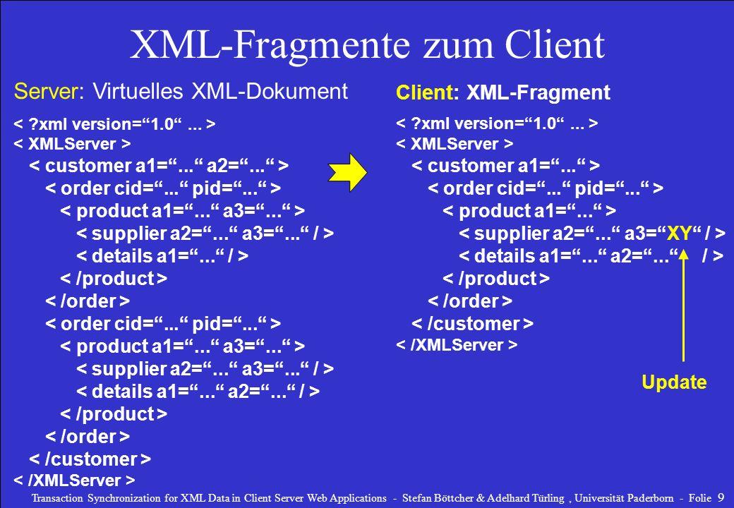 XML-Fragmente zum Client