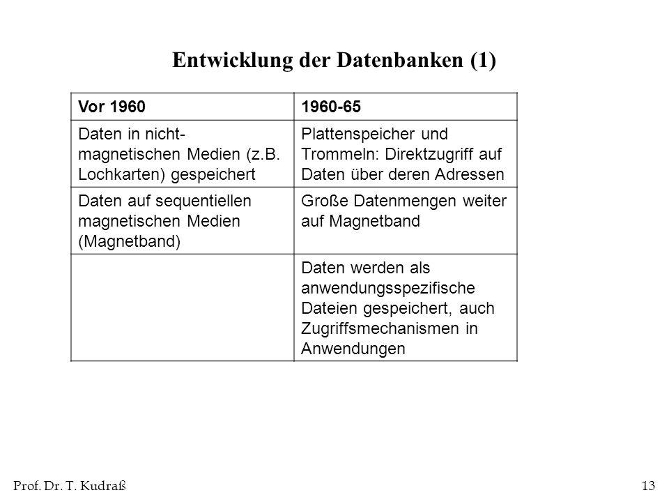 Entwicklung der Datenbanken (1)