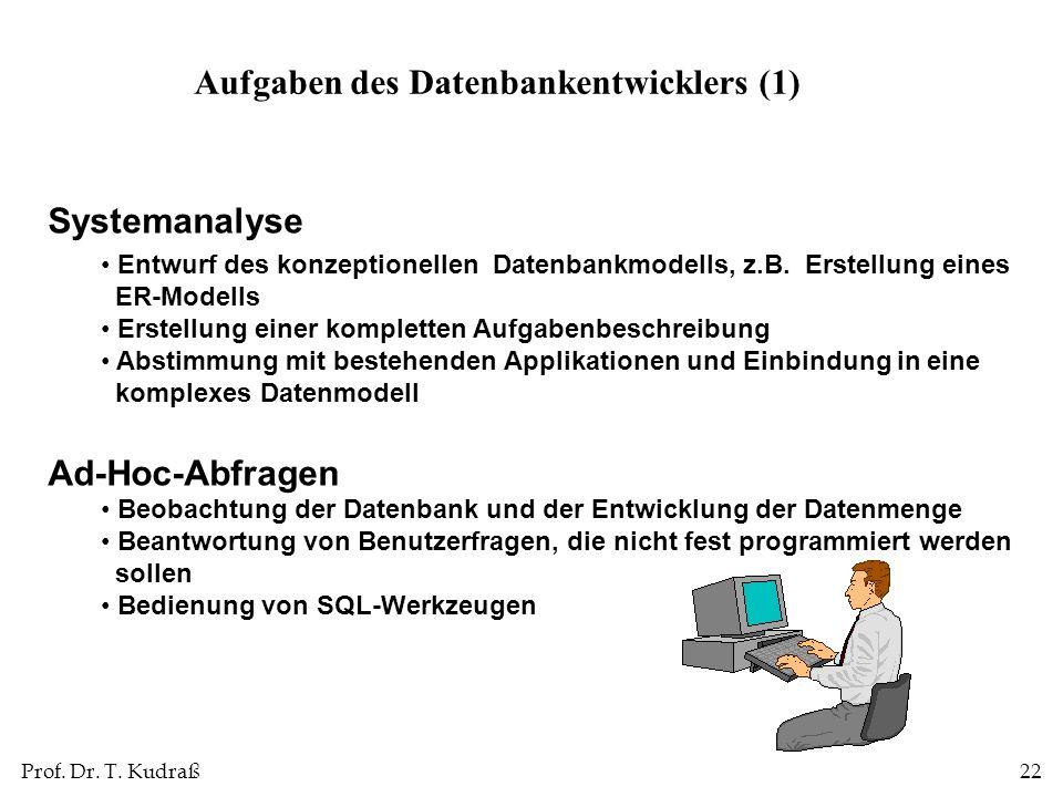 Aufgaben des Datenbankentwicklers (1)