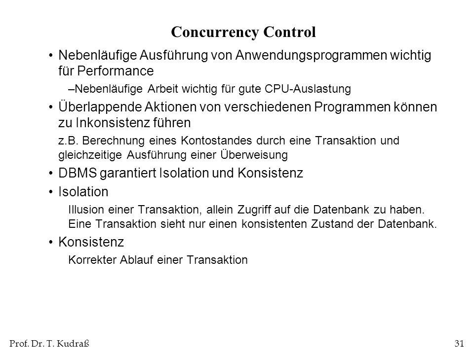 Concurrency ControlNebenläufige Ausführung von Anwendungsprogrammen wichtig für Performance. Nebenläufige Arbeit wichtig für gute CPU-Auslastung.