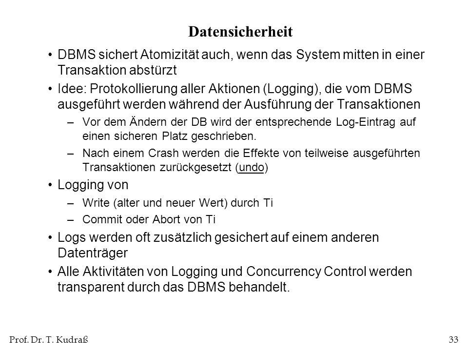 Datensicherheit DBMS sichert Atomizität auch, wenn das System mitten in einer Transaktion abstürzt.
