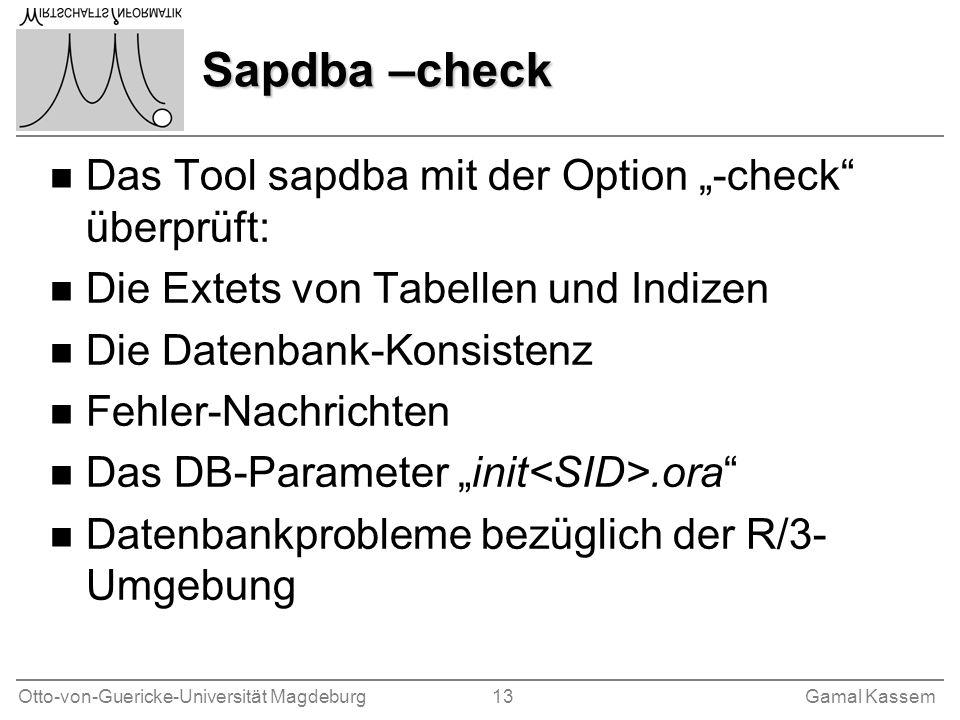 """Sapdba –check Das Tool sapdba mit der Option """"-check überprüft:"""