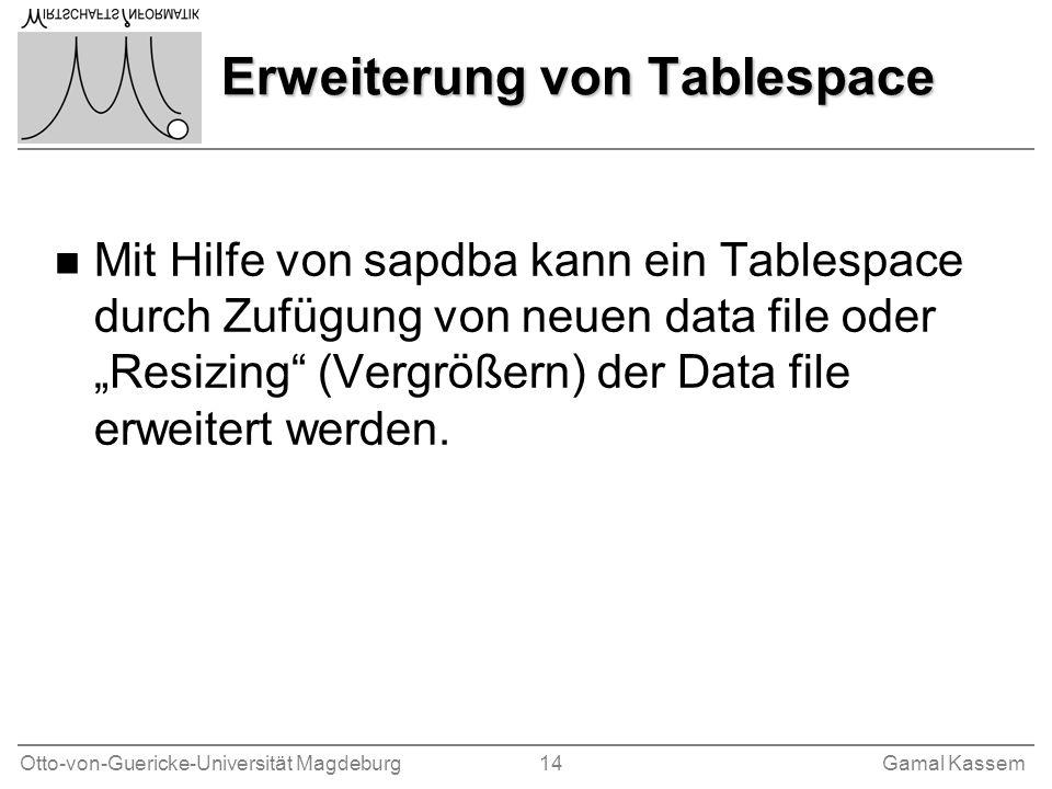 Erweiterung von Tablespace
