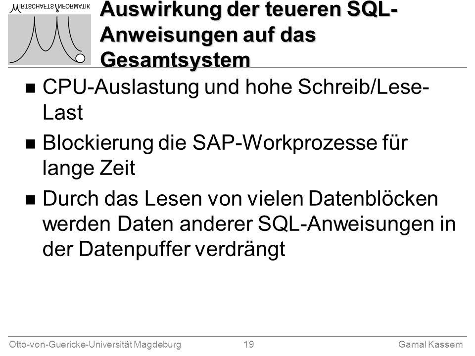 Auswirkung der teueren SQL-Anweisungen auf das Gesamtsystem