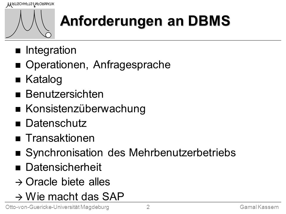 Anforderungen an DBMS Integration Operationen, Anfragesprache Katalog