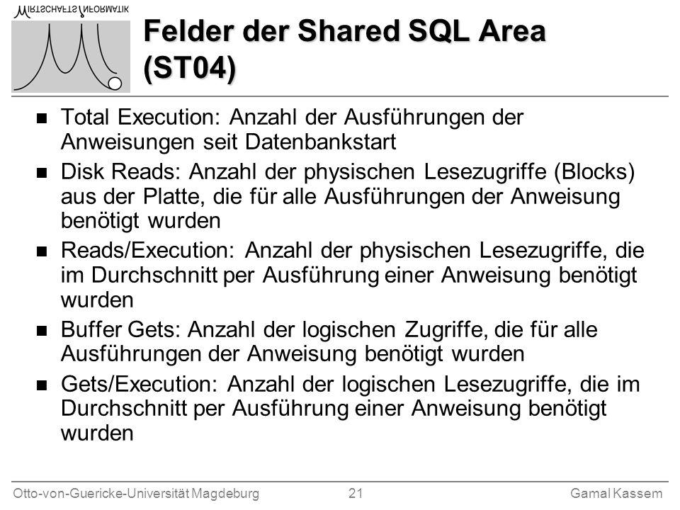 Felder der Shared SQL Area (ST04)