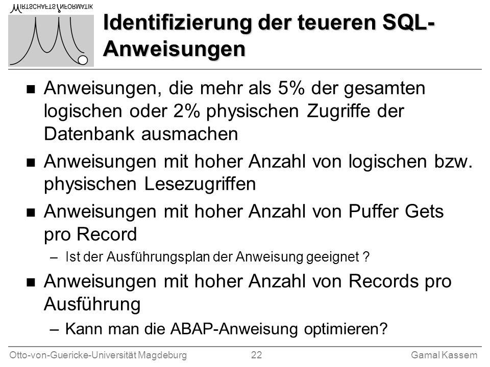 Identifizierung der teueren SQL-Anweisungen