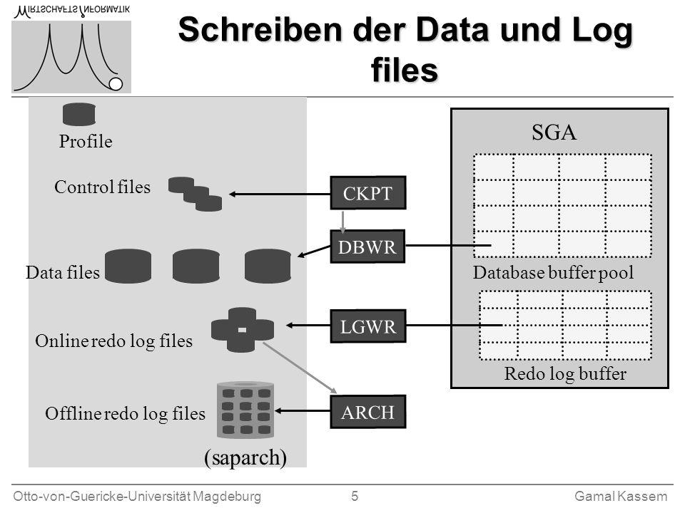 Schreiben der Data und Log files