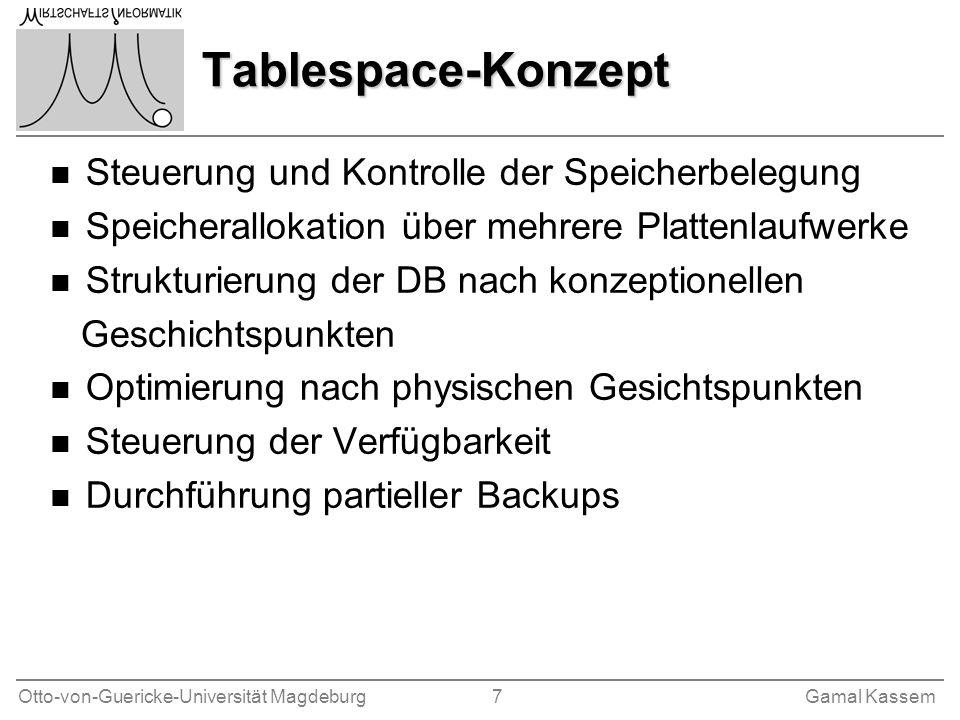 Tablespace-Konzept Steuerung und Kontrolle der Speicherbelegung