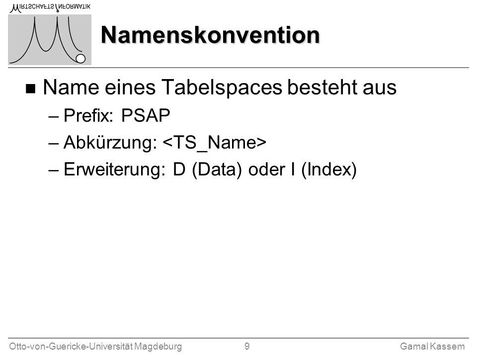 Namenskonvention Name eines Tabelspaces besteht aus Prefix: PSAP