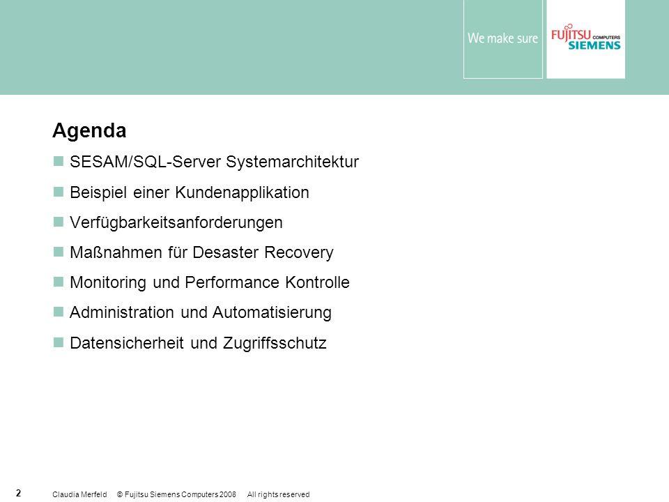Agenda SESAM/SQL-Server Systemarchitektur