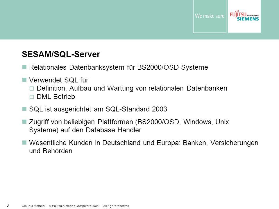 SESAM/SQL-Server Relationales Datenbanksystem für BS2000/OSD-Systeme