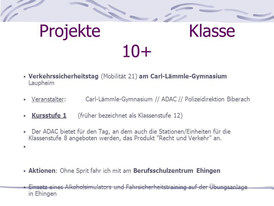 Projekte Klasse 10+ Verkehrssicherheitstag (Mobilität 21) am Carl-Lämmle-Gymnasium Laupheim.