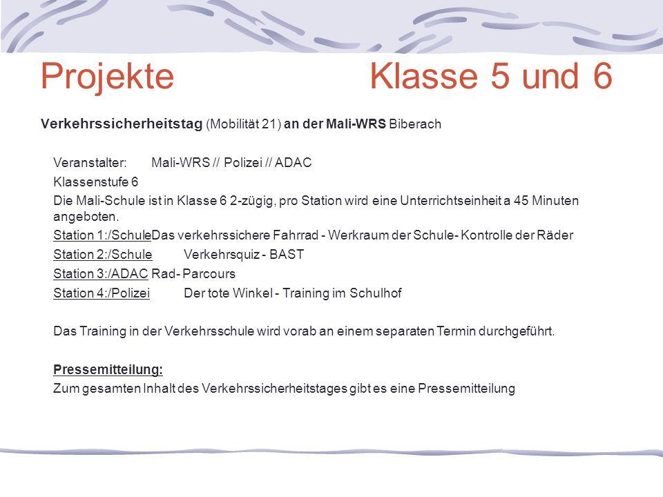 Projekte Klasse 5 und 6 Verkehrssicherheitstag (Mobilität 21) an der Mali-WRS Biberach.