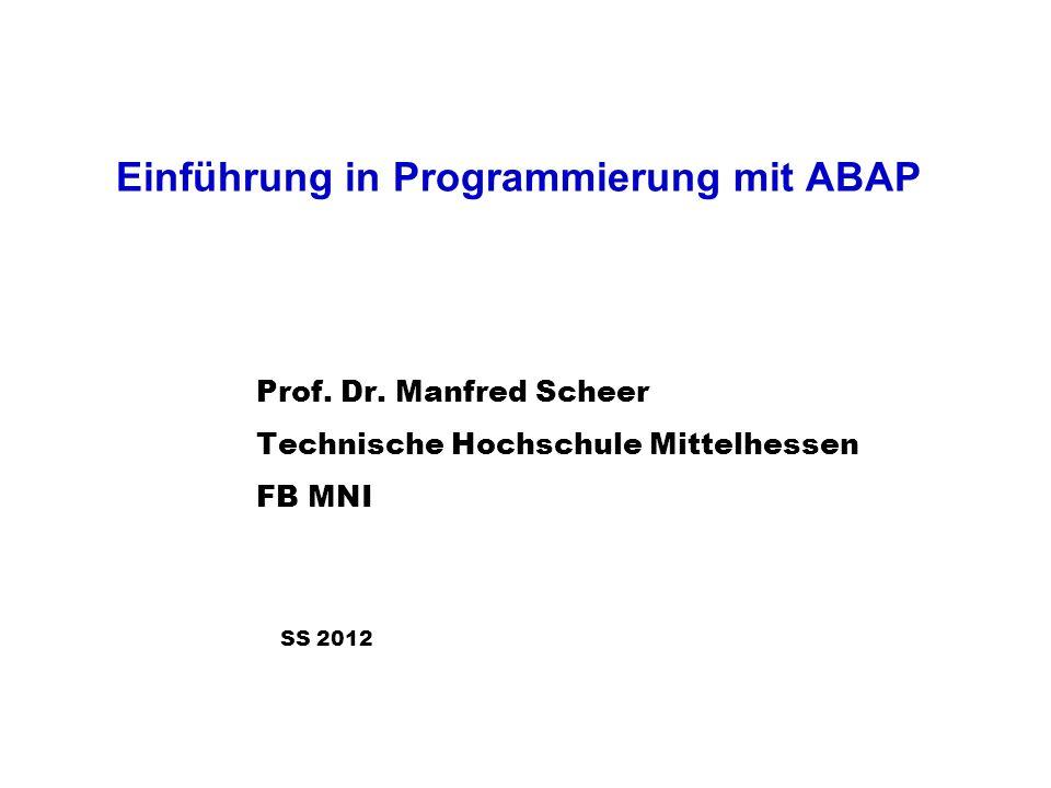 Einführung in Programmierung mit ABAP