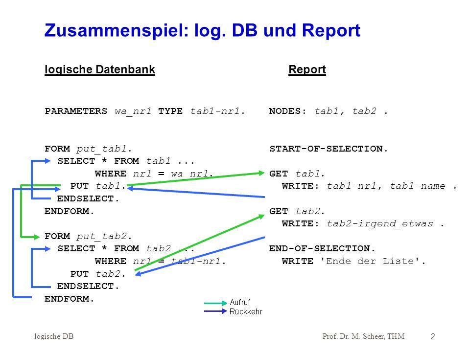 Zusammenspiel: log. DB und Report