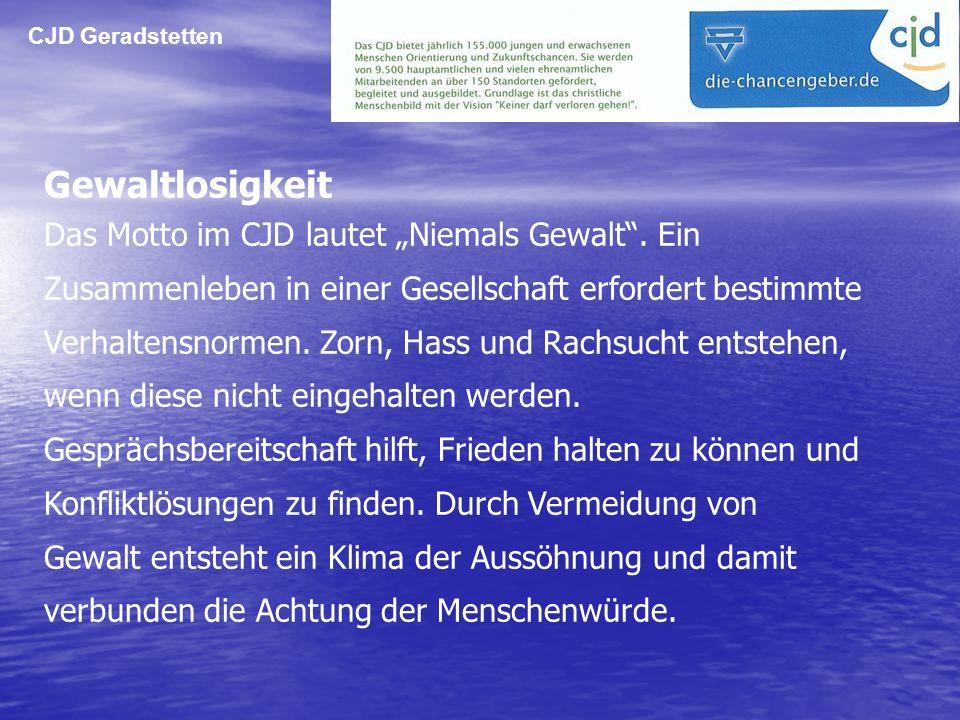 CJD Geradstetten Gewaltlosigkeit.