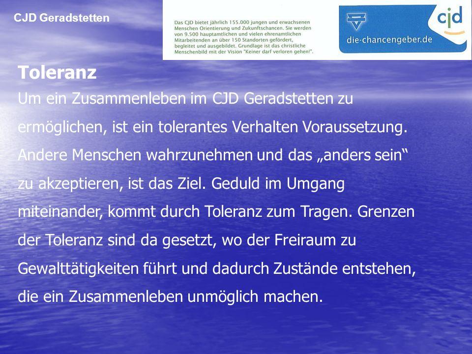 CJD Geradstetten Toleranz.