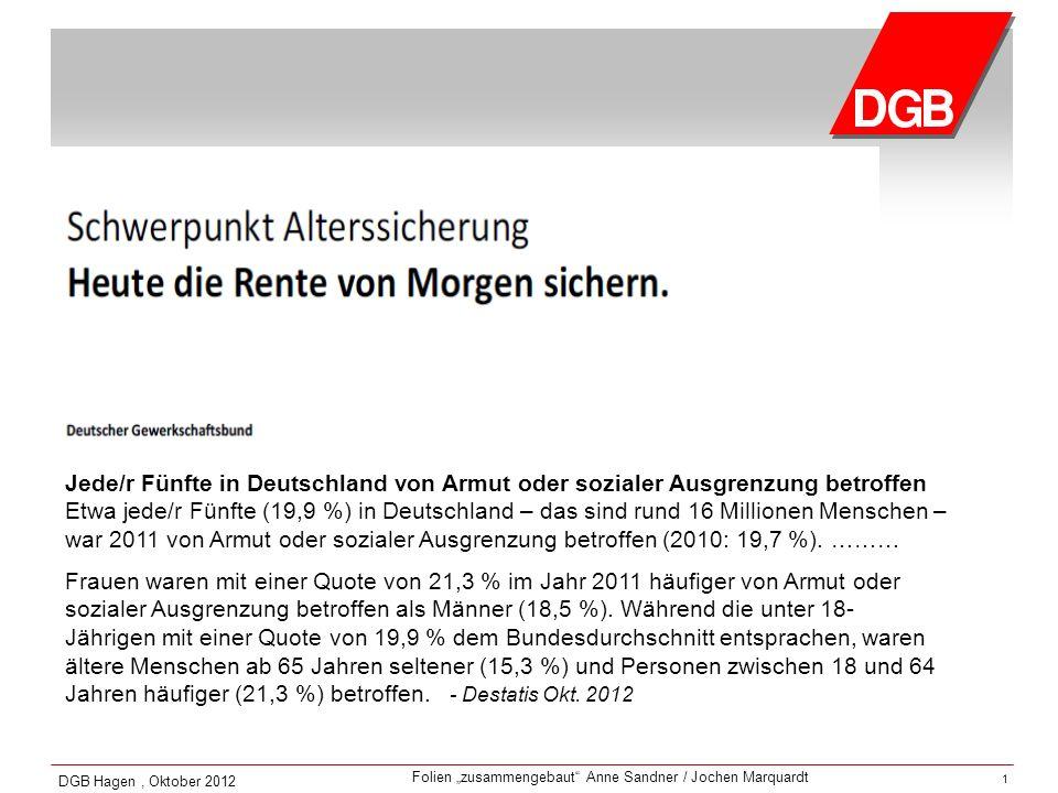 Jede/r Fünfte in Deutschland von Armut oder sozialer Ausgrenzung betroffen Etwa jede/r Fünfte (19,9 %) in Deutschland – das sind rund 16 Millionen Menschen – war 2011 von Armut oder sozialer Ausgrenzung betroffen (2010: 19,7 %). ………