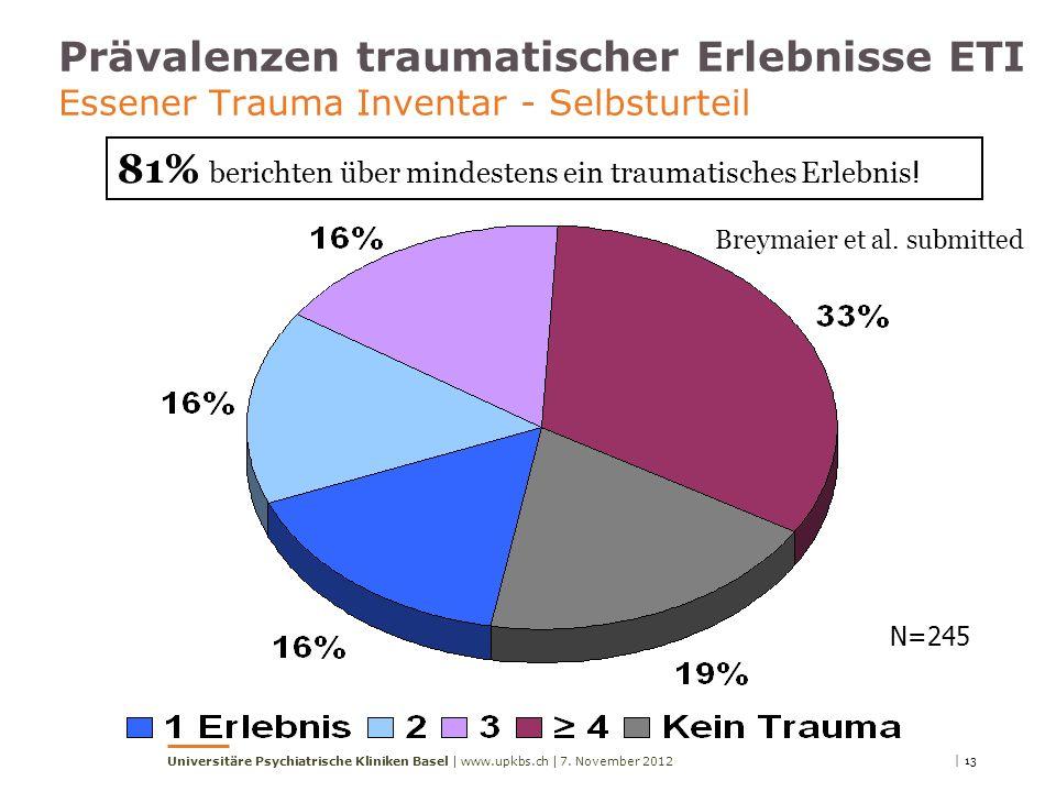 81% berichten über mindestens ein traumatisches Erlebnis!