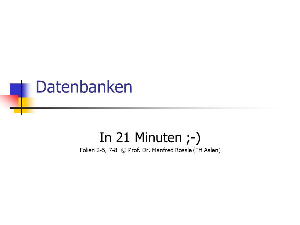 Folien 2-5, 7-8 © Prof. Dr. Manfred Rössle (FH Aalen)
