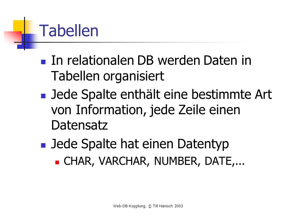 Tabellen In relationalen DB werden Daten in Tabellen organisiert