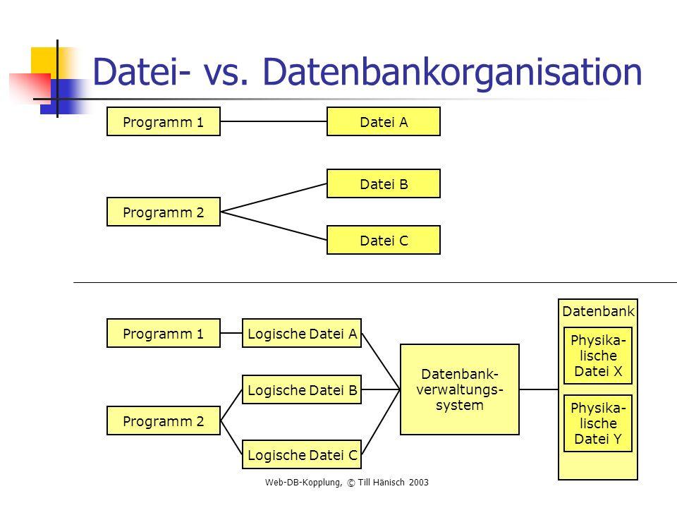 Datei- vs. Datenbankorganisation