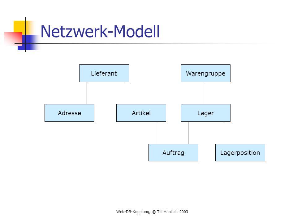 Netzwerk-Modell Lieferant Warengruppe Adresse Artikel Lager Auftrag