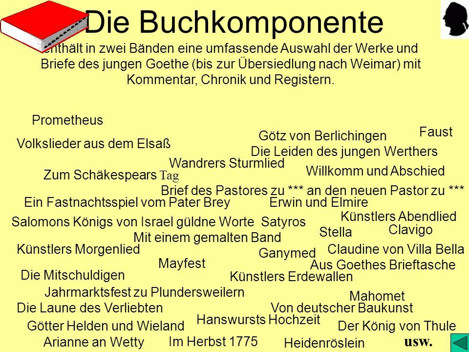 Die Buchkomponente enthält in zwei Bänden eine umfassende Auswahl der Werke und Briefe des jungen Goethe (bis zur Übersiedlung nach Weimar) mit Kommentar, Chronik und Registern.