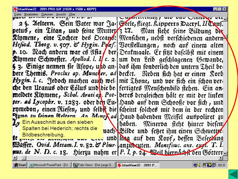Ein Ausschnitt aus den sieben Spalten bei Hederich; rechts die Bildbeschreibung.