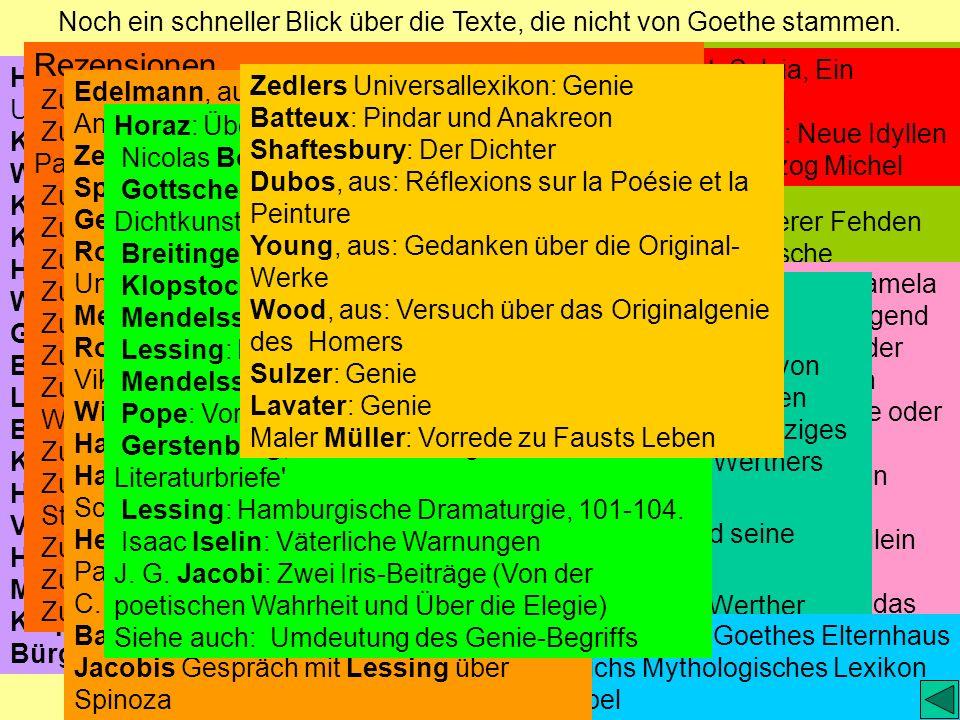 Noch ein schneller Blick über die Texte, die nicht von Goethe stammen.