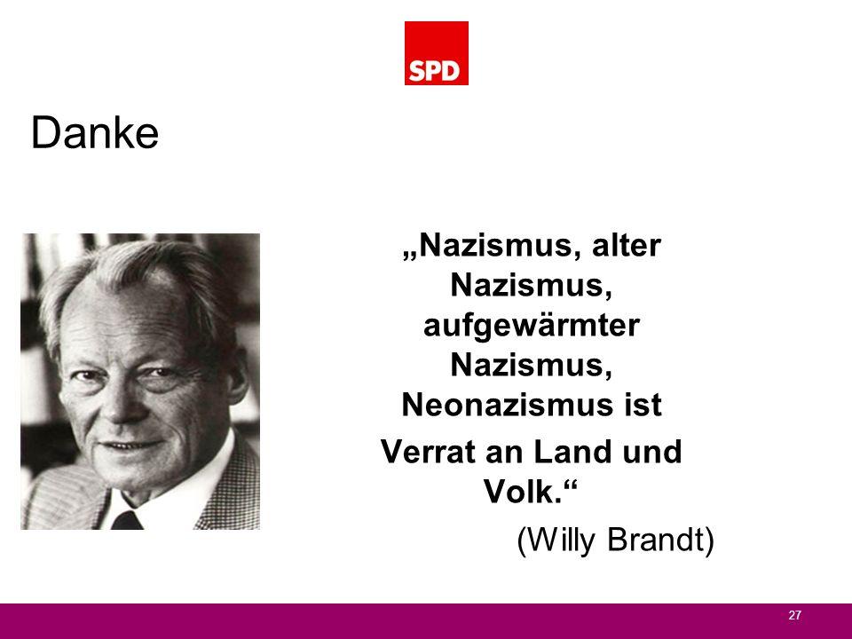 """Danke """"Nazismus, alter Nazismus, aufgewärmter Nazismus, Neonazismus ist. Verrat an Land und Volk."""