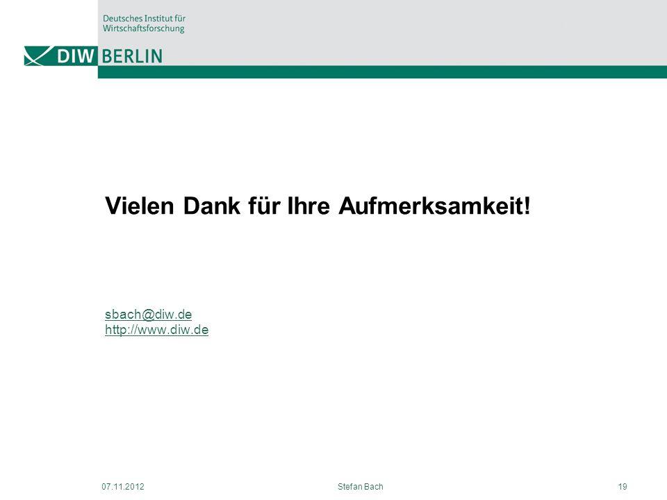 Vielen Dank für Ihre Aufmerksamkeit! sbach@diw.de http://www.diw.de