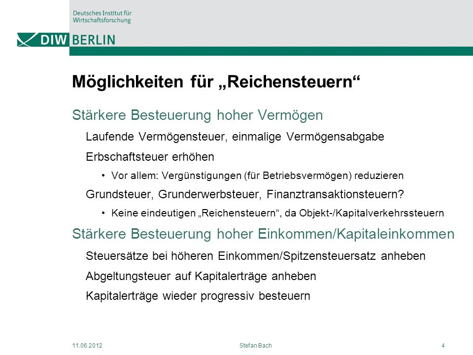 """Möglichkeiten für """"Reichensteuern"""