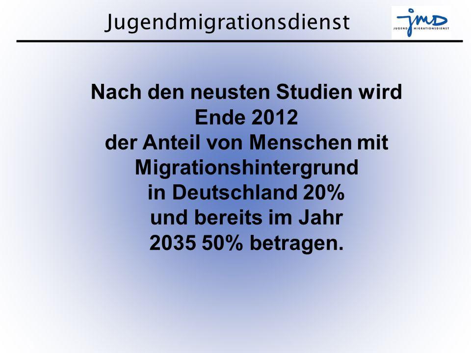 Nach den neusten Studien wird Ende 2012 der Anteil von Menschen mit Migrationshintergrund in Deutschland 20% und bereits im Jahr 2035 50% betragen.