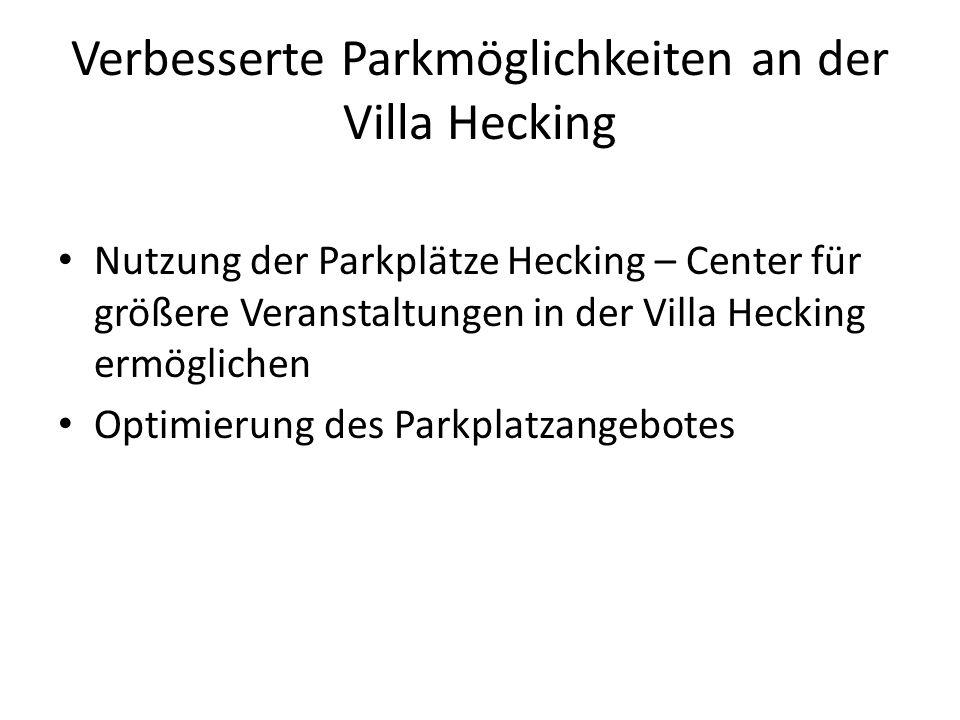 Verbesserte Parkmöglichkeiten an der Villa Hecking