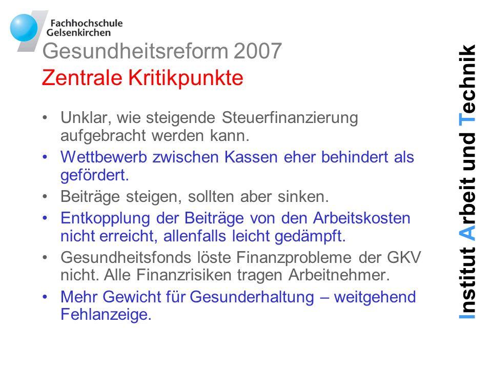 Gesundheitsreform 2007 Zentrale Kritikpunkte