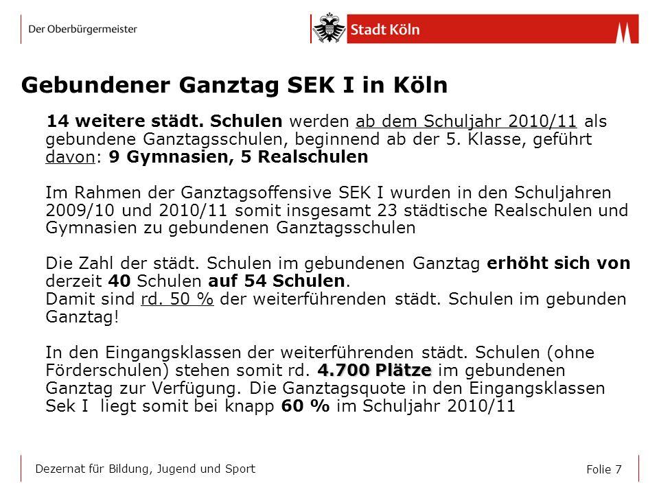 Gebundener Ganztag SEK I in Köln