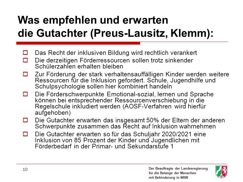 Was empfehlen und erwarten die Gutachter (Preus-Lausitz, Klemm):