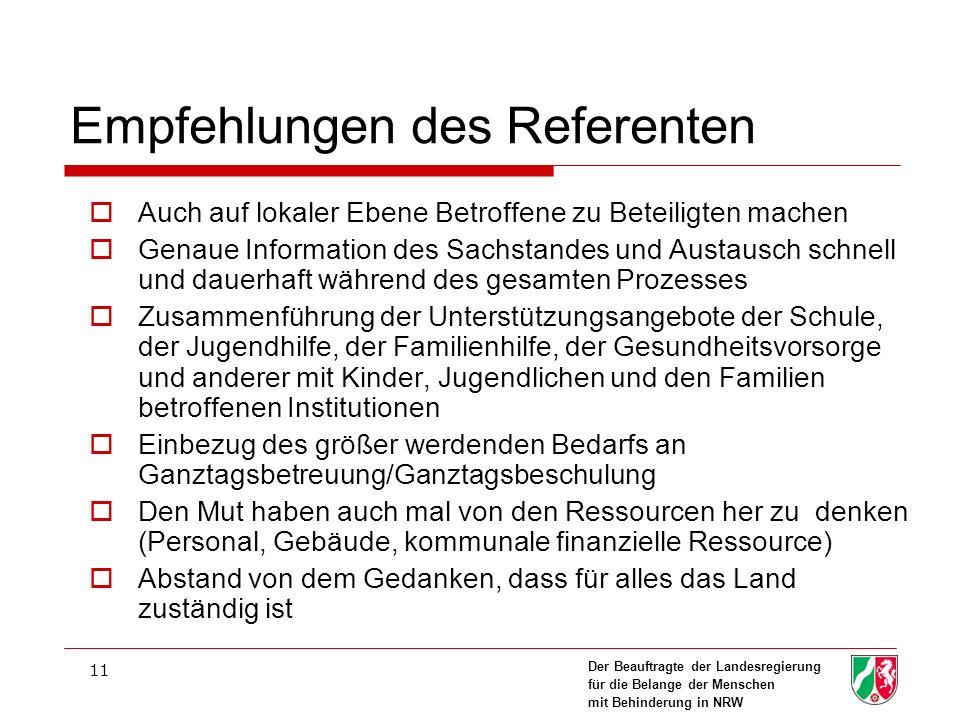 Empfehlungen des Referenten