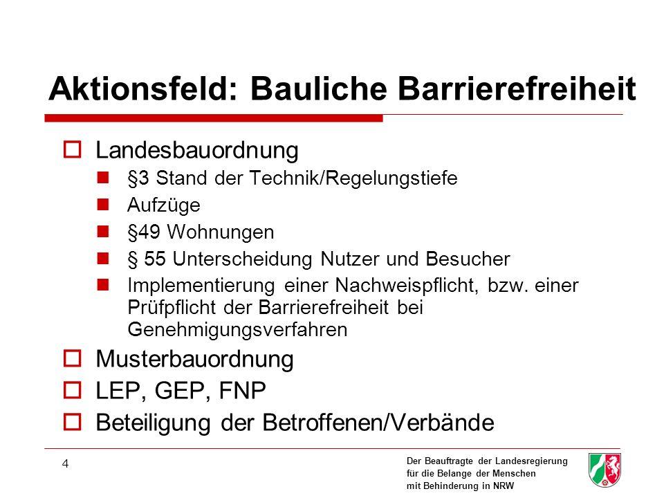 Aktionsfeld: Bauliche Barrierefreiheit