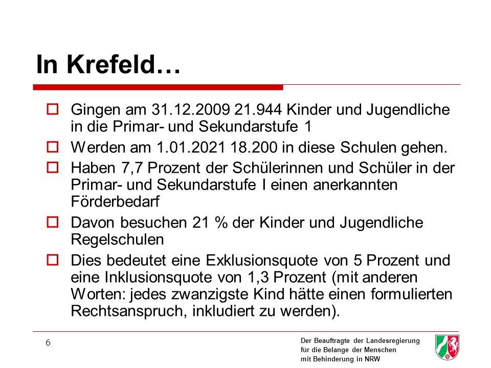 In Krefeld… Gingen am 31.12.2009 21.944 Kinder und Jugendliche in die Primar- und Sekundarstufe 1.