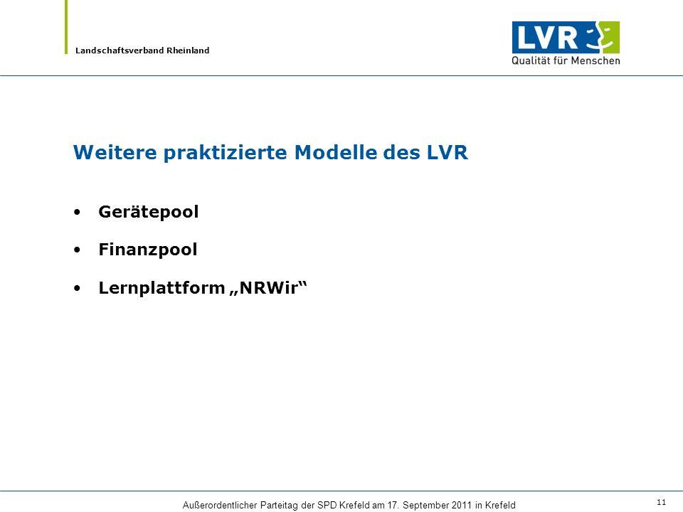 Weitere praktizierte Modelle des LVR